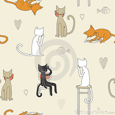 Free Cat Seamless Pattern Stock Images - 14526494