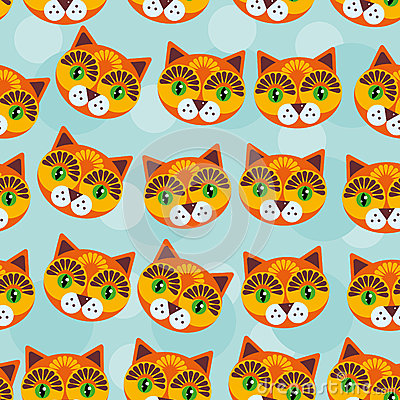 Free Cat Seamless Pattern With Funny Cute Animal Face On A Blue Backg Royalty Free Stock Image - 44717846