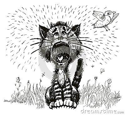Cat shouting (vector)