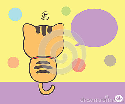 Cat sitting back with speech bubble