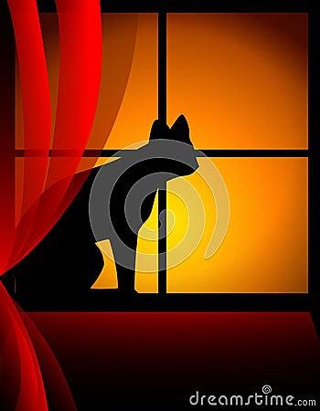 Cat Sitting On Windowsill At Sunset