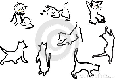 Cat sketches collection isolated on white