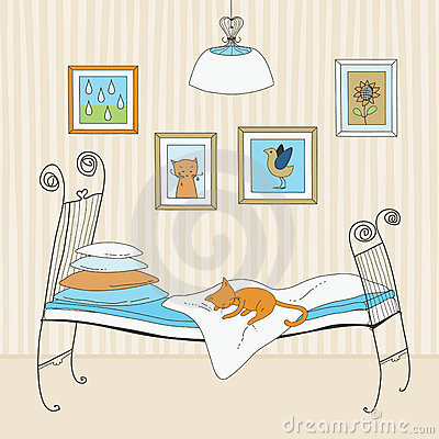 Free Cat Sleeping On Bed Royalty Free Stock Photo - 18196235