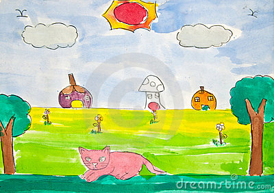 Cat and sunny day, child s drawing