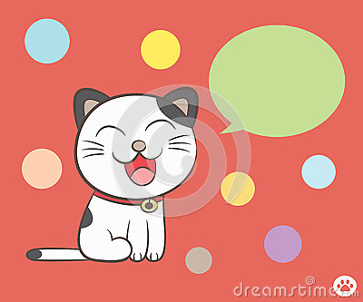 Cat talking with speech bubble