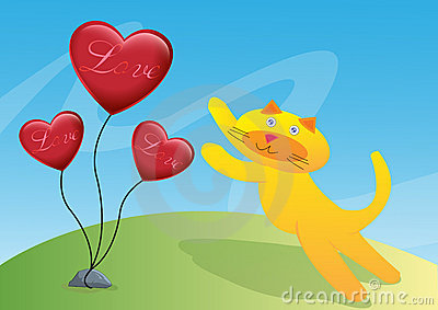 Cat and Three Love Ballon Illustration
