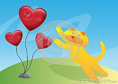 Cat and Three Love Ballon Illustration
