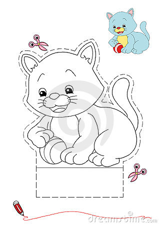 Cat to be color and to cut out