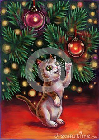 Free Cat Under The Tree Stock Photography - 141831832
