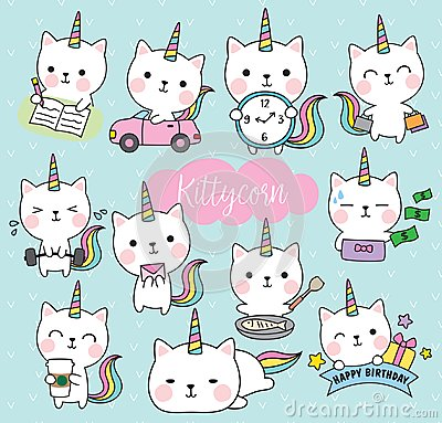 Cat Unicorn Life Activity Planner Vector Illustration Vector Illustration
