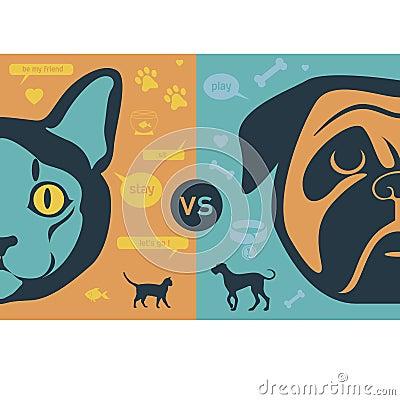 Free Cat Vs Dog Infographic Illustration Stock Images - 49867794