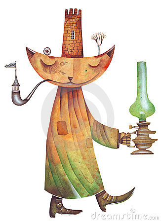 Free Cat With Green Oil Lamp Stock Photo - 5998710
