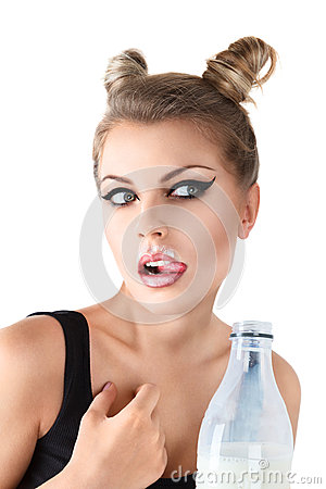 Cat woman drink milk
