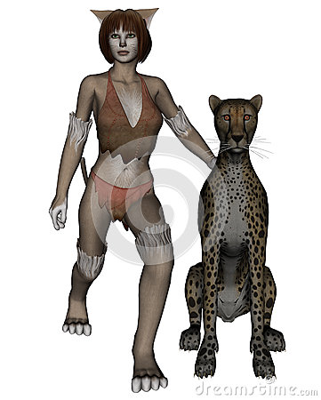 Cat woman and leopard