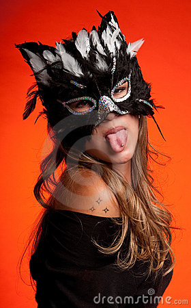 Cat woman tongue