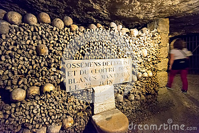 The Catacombs of Paris Editorial Photography