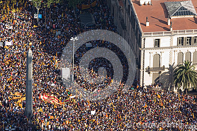 Catalan demonstration Editorial Stock Photo