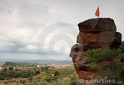 Catalan flag on a rock top