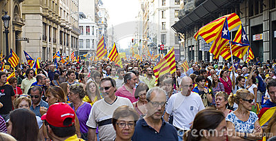 Catalan independence rally Editorial Stock Image