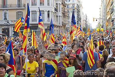 Catalan independence rally Editorial Photography