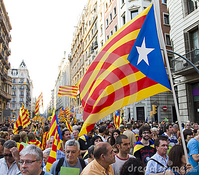 Catalan independence rally Editorial Stock Photo