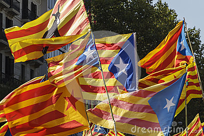 Catalan secessionist flags Editorial Photo