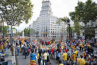 Catalan way, human chain for demanding the independence of Catal Editorial Photo