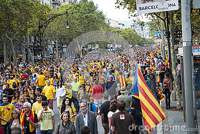 Catalan way, human chain for demanding the independence of Catal Editorial Image