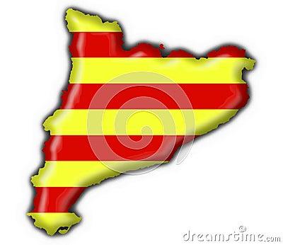 Catalonia button flag map shape
