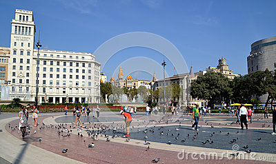 Catalonia Square in Barcelona, Spain Editorial Photography