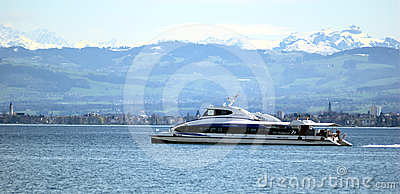 Catamaran on the Lake Constance Editorial Photo
