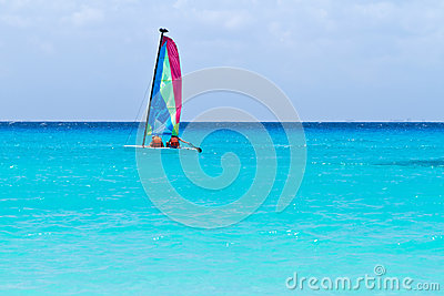 Catamaran sail on the turquoise Caribbean Sea