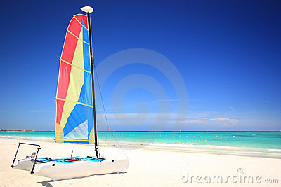 Catamaran sailboat on the beach