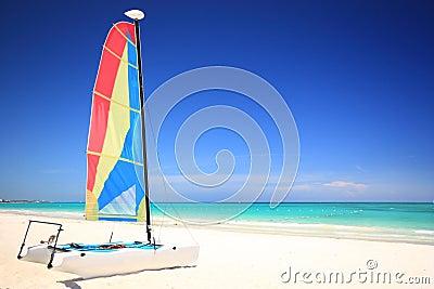 Catamaran sailboat on the beach