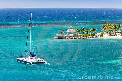 Catamaran Sails on Caribbean