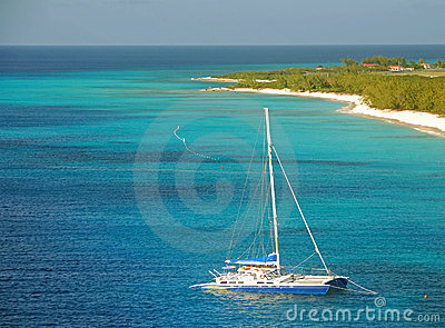 Catamaran in shallow water