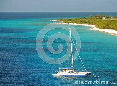 Catamaran in shallow water