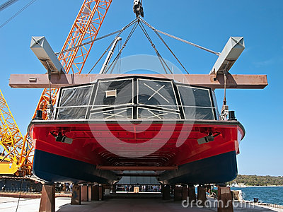 Catamaran in shipyard Editorial Image