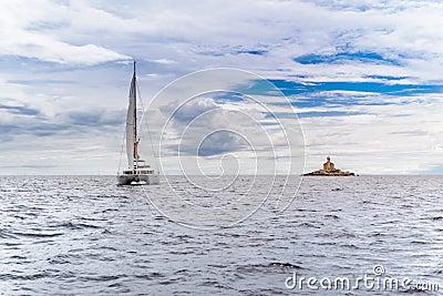 Catamaran and watchtower