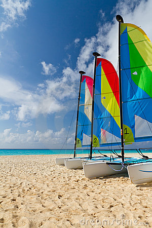 Catamarans on the Caribbean beach