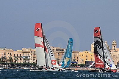 Catamarans at a challenging race Editorial Photography