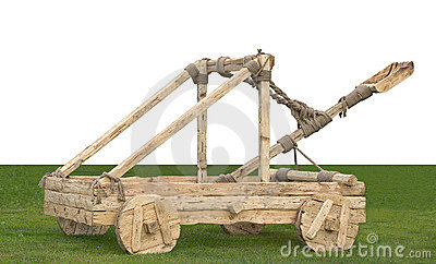 Catapult with a white place for text