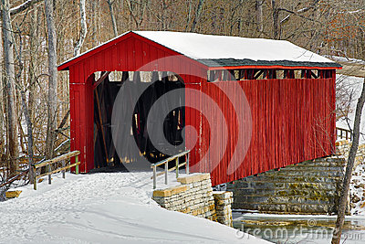 Cataract Covered Bridge and Snow
