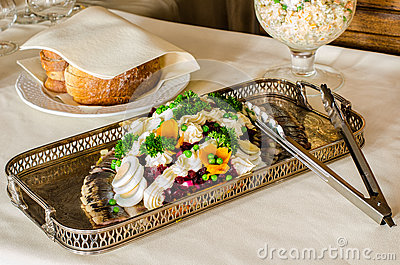 Catering food in silver dish
