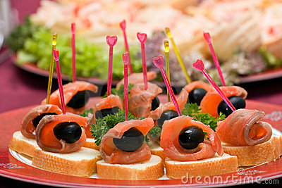Catering - salmon with olive appetizer