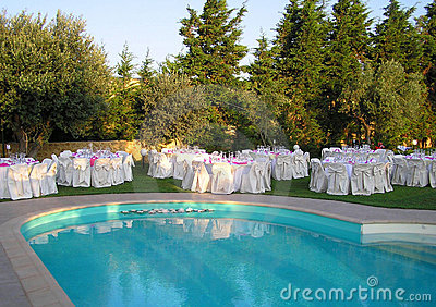 Catering setup, wedding table