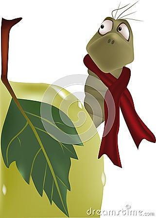 Free Caterpillar And Apple Stock Image - 12411581