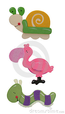 Caterpillar, Flamingo and Snail