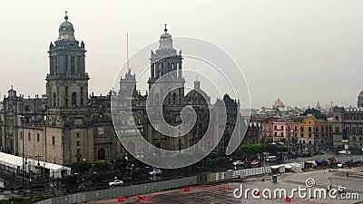 Cathédrale de la métropolitaine de Mexico Pluie d'après-midi de vue aérienne District fédéral banque de vidéos