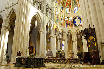 Cathedral of Almudena, Madrid. Principal dome and altar